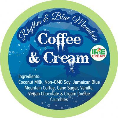 Rich, dark coffee based Irie Cream with chunks of chocolate and sweet cream cookies.