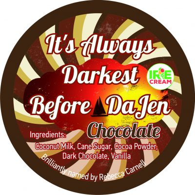 Brilliantly named by Rebecca Carnell, It's Always Darkest Before DaJen is our rich, smooth, dark chocolate Irie Cream.