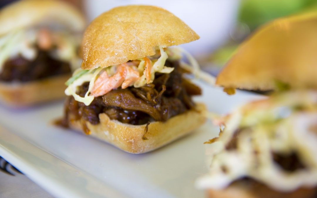Jerk Barbecue Jackfruit Sliders with Pineapple Broccoli Slaw